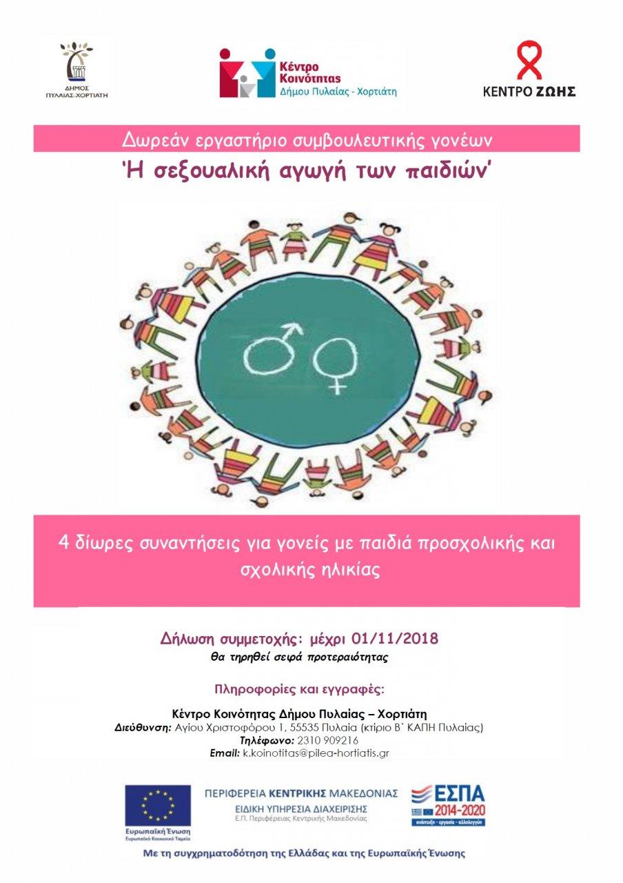 Εργαστήριο Γονέων στην Πυλαία για τη σεξουαλική αγωγή των παιδιών